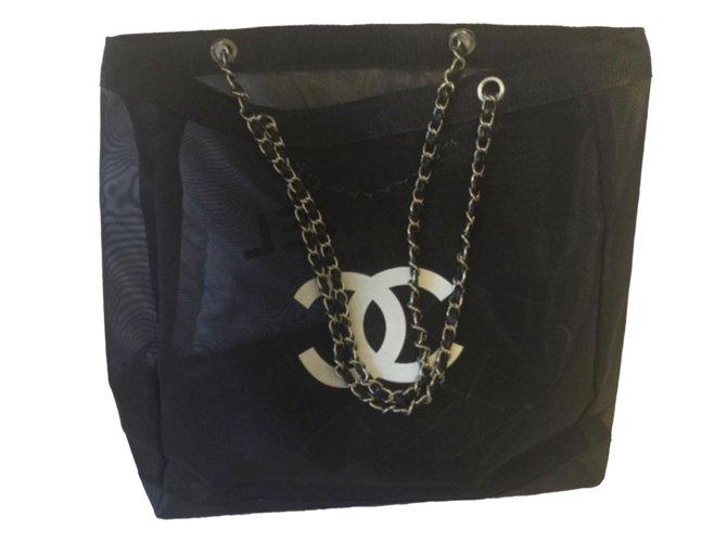 Chanel Handbags Cloth Black Ref80555
