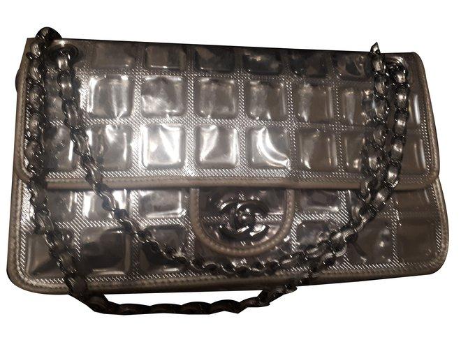 38ca2d5198acf7 Chanel Handbags Handbags Leather,Plastic,Satin Silvery ref.80566 ...