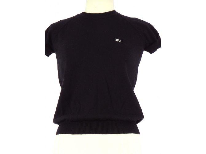 Tops Burberry Prorsum Tee-Shirt Laine Noir ref.80762