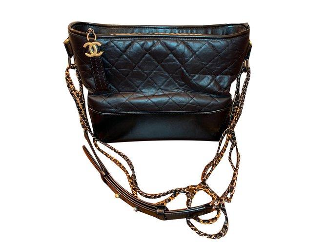 Sacs à main Chanel Gabrielle Medium Hobo Cuir Noir ref.80778