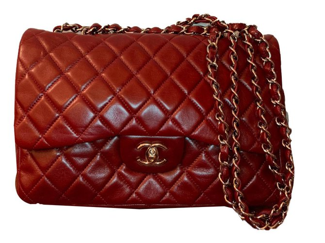 02a0ef5011a3f4 Chanel Classic Jumbo- Bordeaux Lambskin with Silver Hardware Handbags  Leather Dark red ref.80780