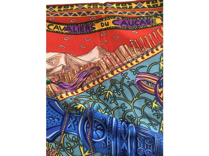 b974d8bd272c Foulards Hermès les cavaliers du caucase Cachemire Multicolore ref.81125