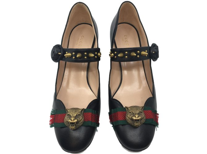 Gucci Fersen High heels Leder Schwarz ref.80905