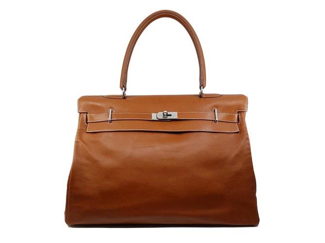 Hermès Kelly Relax 50 Handtaschen Leder Karamell ref.81505