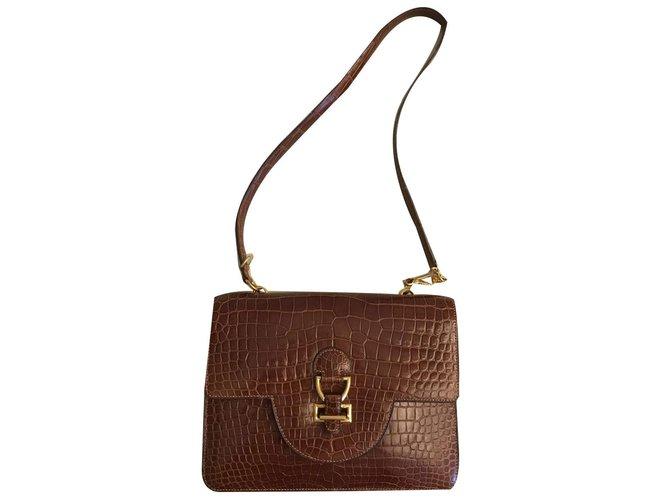 Hermès Sandrine Handbags Exotic leather Caramel ref.82036