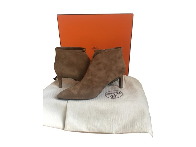 Hermès Please low boot Ankle Boots Suede Caramel ref.82139