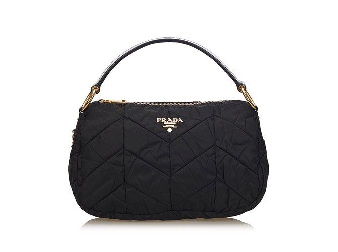 5a42189152f788 Prada Nylon Tessuto Handbag Handbags Leather,Patent leather,Nylon,Cloth  Black ref.