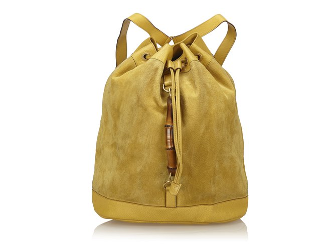743116ab538 Gucci Bamboo Suede Backpack Backpacks Suede
