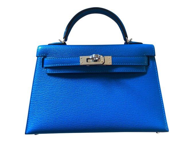 Sacs à main Hermès Mini Kelly Cuir Bleu ref.82541