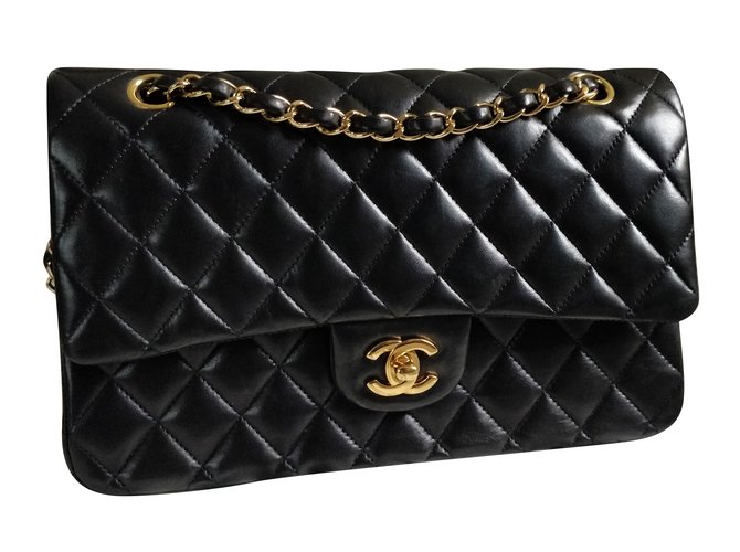 6eac61d5622a Chanel Timeless classic double flap Handbags Leather Black ref.82563 ...