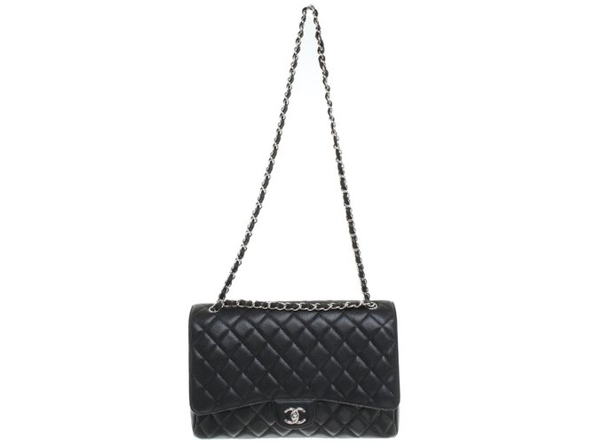 Sacs à main Chanel Maxi Chanel single flap Cuir Noir ref.82581