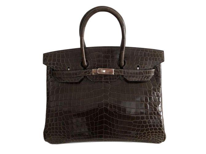 Sacs à main Hermès Birkin 35 Croco Cuirs exotiques Marron foncé ref.82672 de35bbdf8a6