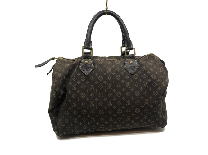 Sacs à main Louis Vuitton Speedy Minilin 30 Tissu Marron ref.82694