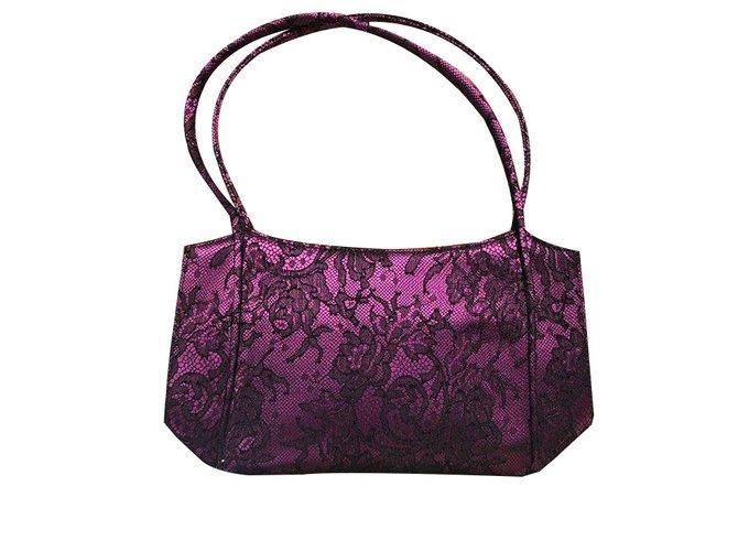 Louboutin Handbags Lace Satin Fuschia Ref 82725