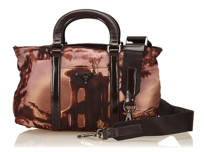 e62ac05791ec Prada Nylon Handbag Handbags Leather,Other,Nylon,Cloth Brown ref.82738