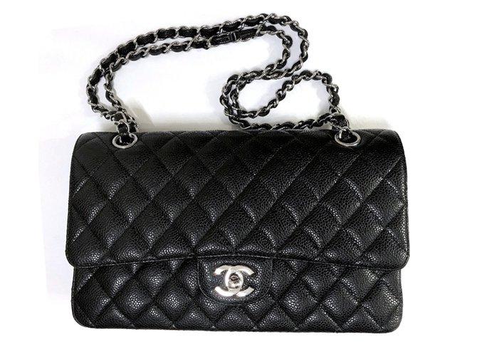 8a4d1708cf39 Chanel Chanel Timeless Caviar Medium Flap Bag Handbags Leather Black  ref.82745