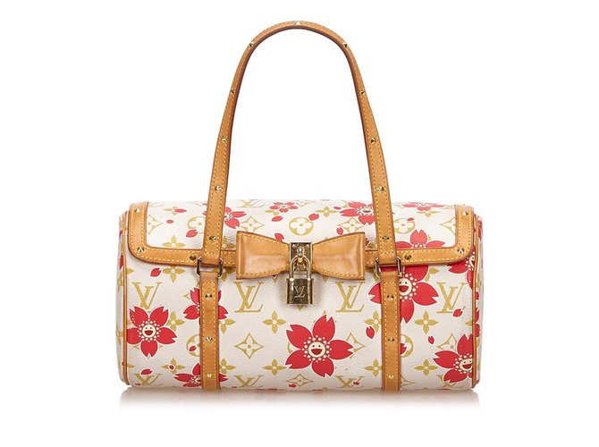 542a904fb Louis Vuitton Cherry Blossom Papillon Handbags Leather,Cloth White,Multiple  colors ref.82764