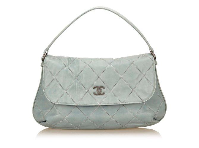 8f0e2ea0a048a0 Chanel Leather Wild Stitch Flap Handbags Leather,Pony-style calfskin  Blue,Light blue