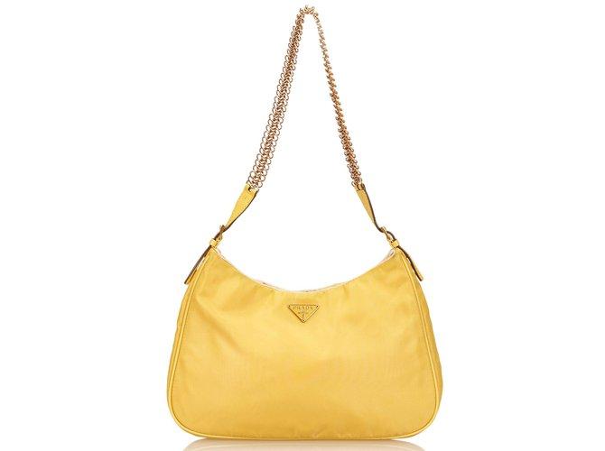f5c05d55d21716 ... norway prada nylon chain shoulder bag handbags nyloncloth yellow  ref.83078 6e0e9 f7398