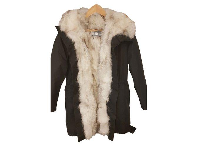 Yves Salomon Coats, Outerwear Coats, Outerwear Cotton,Fox Black ref.83195