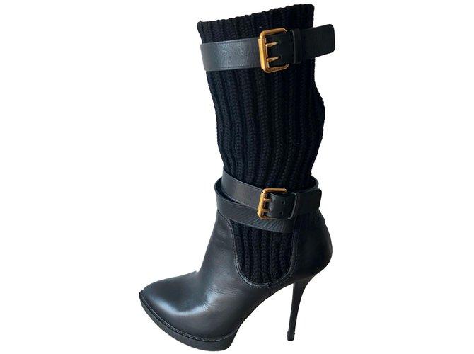 77b97fdfc0de Gucci Boots Boots Leather Black ref.83206 - Joli Closet