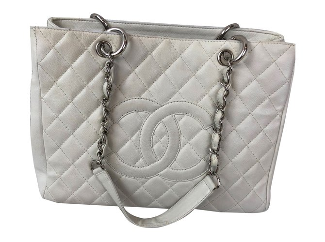 0edc8fcc2df8 Chanel Grand Shopping Tote Handbags Leather White ref.83309 - Joli ...