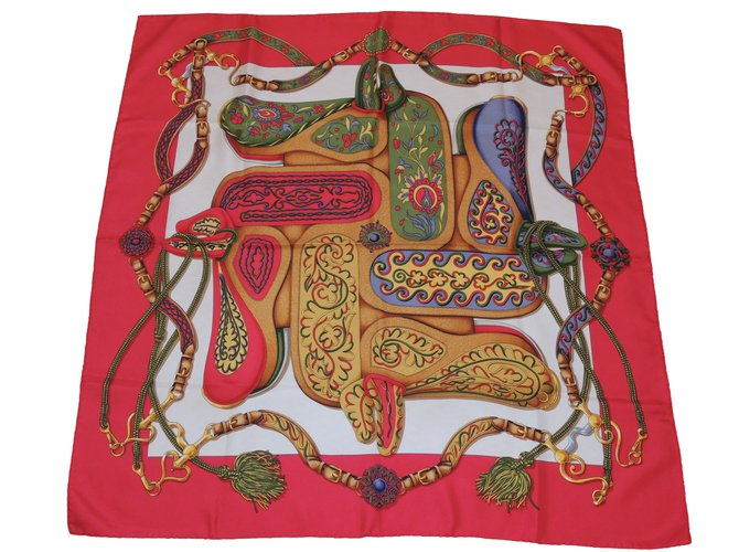 Carrés Hermès Festival (des amazones) Soie Rouge ref.83356