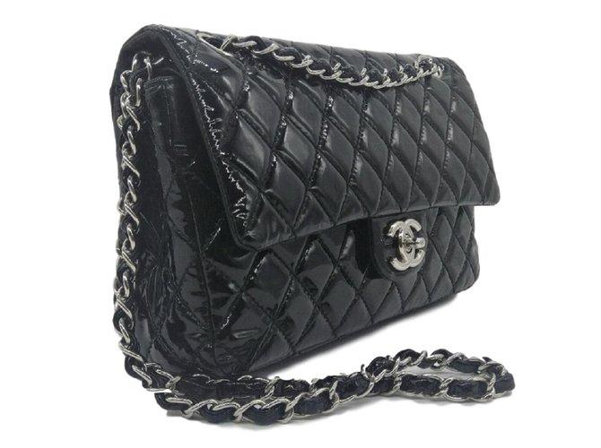 4fb4fb7b4038bb Chanel Black patent leather classic medium flap bag Handbags Patent leather  Black ref.83373