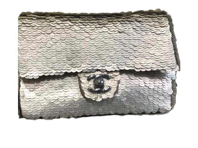 70f550df7998 Chanel Chanel silver sequin mini flap bag Handbags Silk Silvery ref.83497