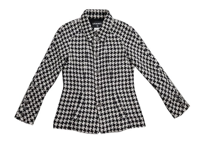 Chanel Clic Black And White Tweed Jacket Jackets Ref 83498