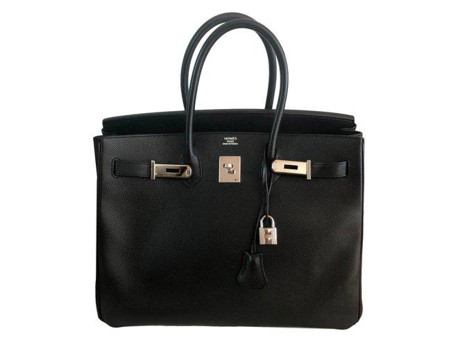 Sacs à main Hermès Birkin 35 Cuir Noir ref.83527