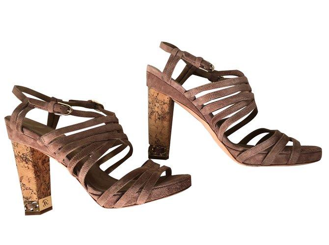 Chanel sandals Chestnut Deerskin  ref.83530