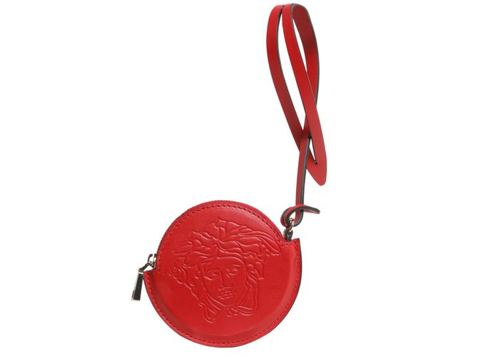 3210bde94b0 Versace Versace leather medusa head charm Bag charms Leather Red ref.83533