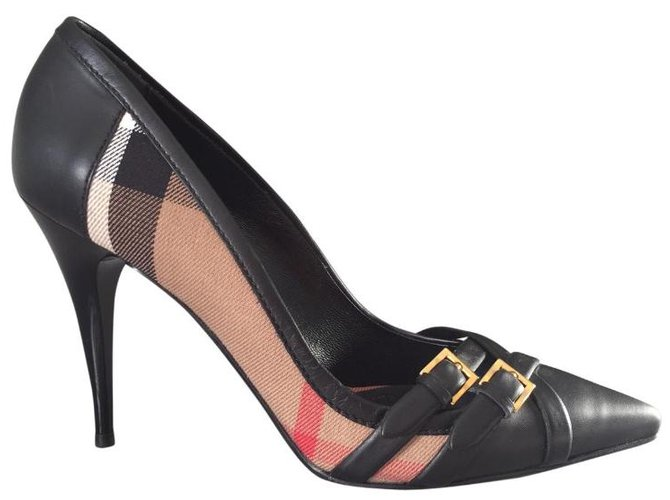 Burberry Heels Heels Leather,Cloth Black,Beige ref.83707
