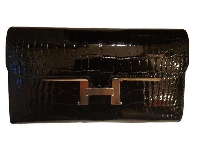 Pochettes Hermès Constance Alligator Cuirs exotiques Noir ref.84018