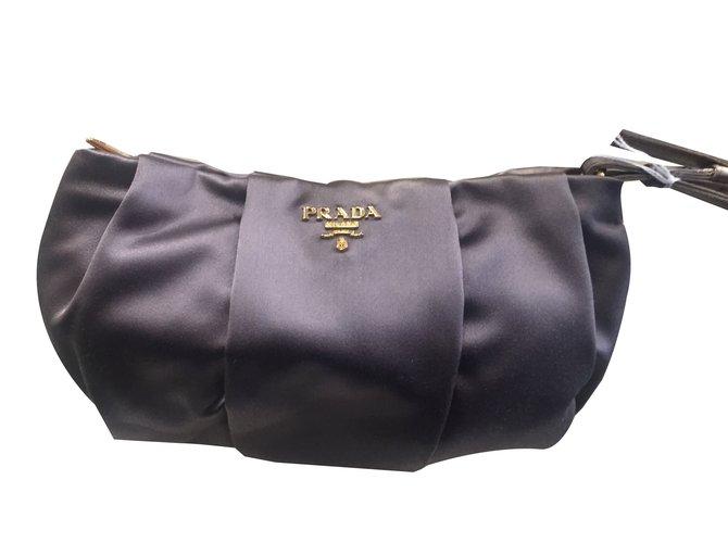 81fa05154561 Prada Pouch Clutch bags Satin Light brown ref.84049 - Joli Closet