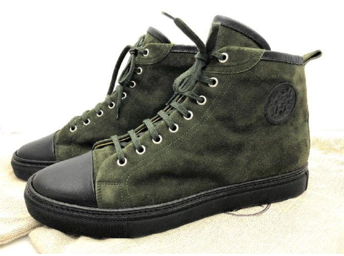 Hermès Olive Green Suede lace up