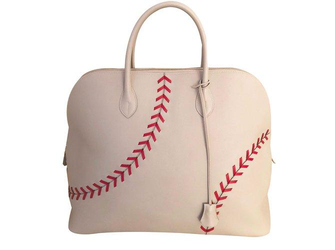 6e4457d65725 Hermès Travel bag Travel bag Leather White ref.84208 - Joli Closet