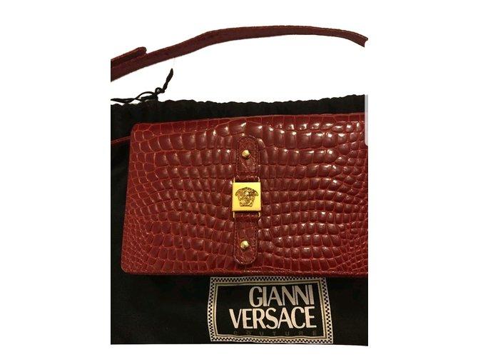 b161896c8f Gianni Versace vintage couture croc bag Handbags Leather Dark red ref.84315