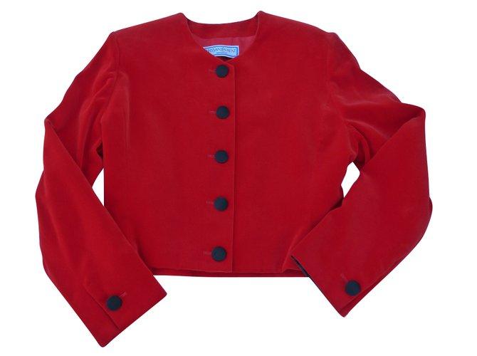 f34ad43ae1b Yves Saint Laurent Jackets Jackets Silk,Velvet Red ref.84343 - Joli ...