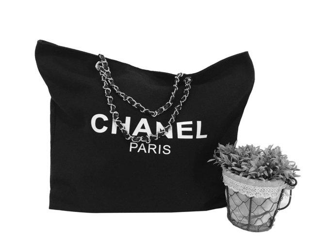 Cadeaux VIP Chanel Sacs à main Toile Noir ref.84352