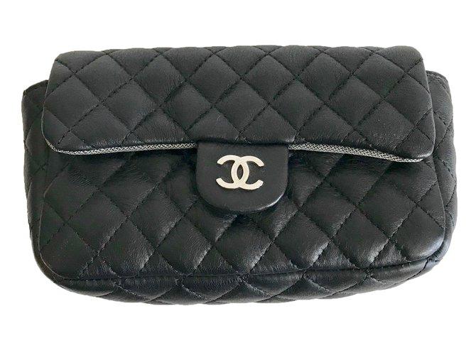 774477614538 Chanel Clutch Bag Bags Leather Black Silvery Ref 84425 Joli