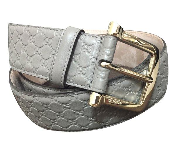 c566a7f5e Gucci Monogram belt Belts Leather Grey ref.84494 - Joli Closet