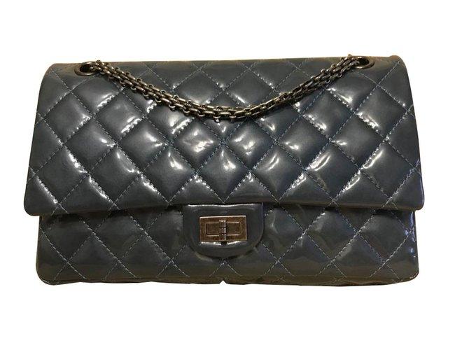 5c136c9810268e Chanel 2.55 Handbags Patent leather Blue ref.84502 - Joli Closet