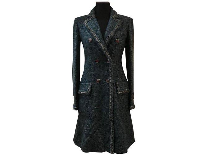 Manteaux Chanel Manteau en tweed fantaisie Soie,Polyester,Laine,Nylon,Mohair Bleu ref.84618