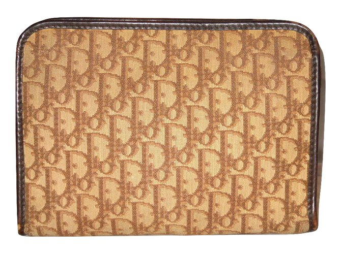 ff6fd9edcf Christian Dior Vintage pouch Bags Briefcases Leather,Cloth Brown,Beige  ref.84693