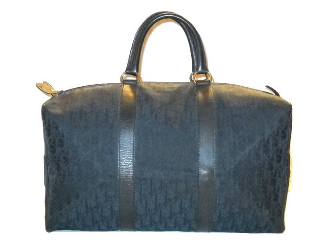 1a924b9f742f Sacs Christian Dior vintage Boston 45 voyage Dior oblique Cuir,Toile Bleu  ref.84766