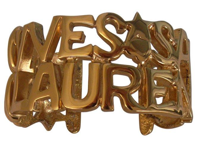 82f4b60c90e147 Yves Saint Laurent LOGO CUFF Bracelets Gold-plated Golden ref.84773 ...