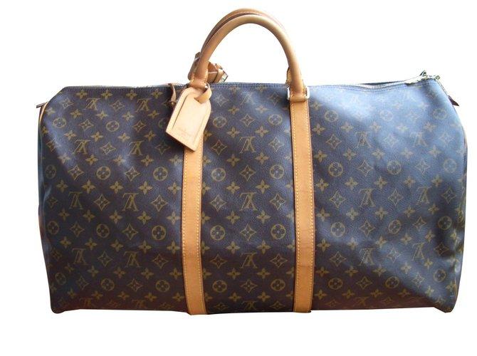 Sacs de voyage Louis Vuitton Sac de voyage Cuir Marron ref.84800