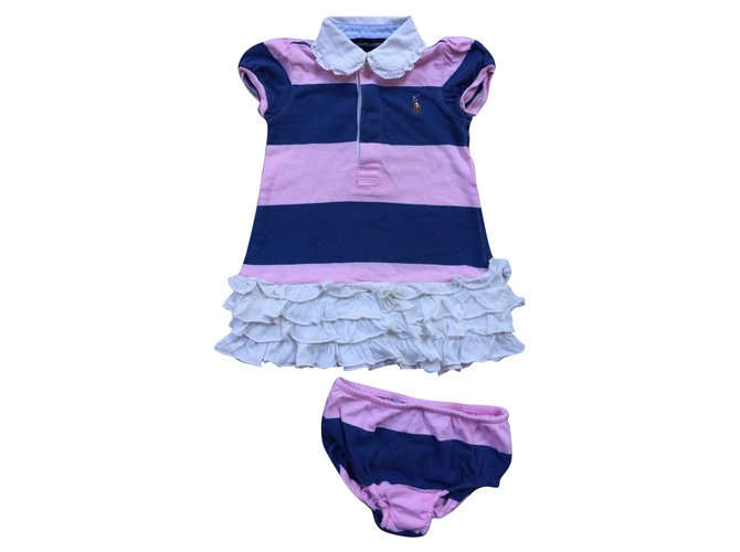 Ralph Lauren Girl sets Outfits Cotton Pink,White,Navy blue ref.85290